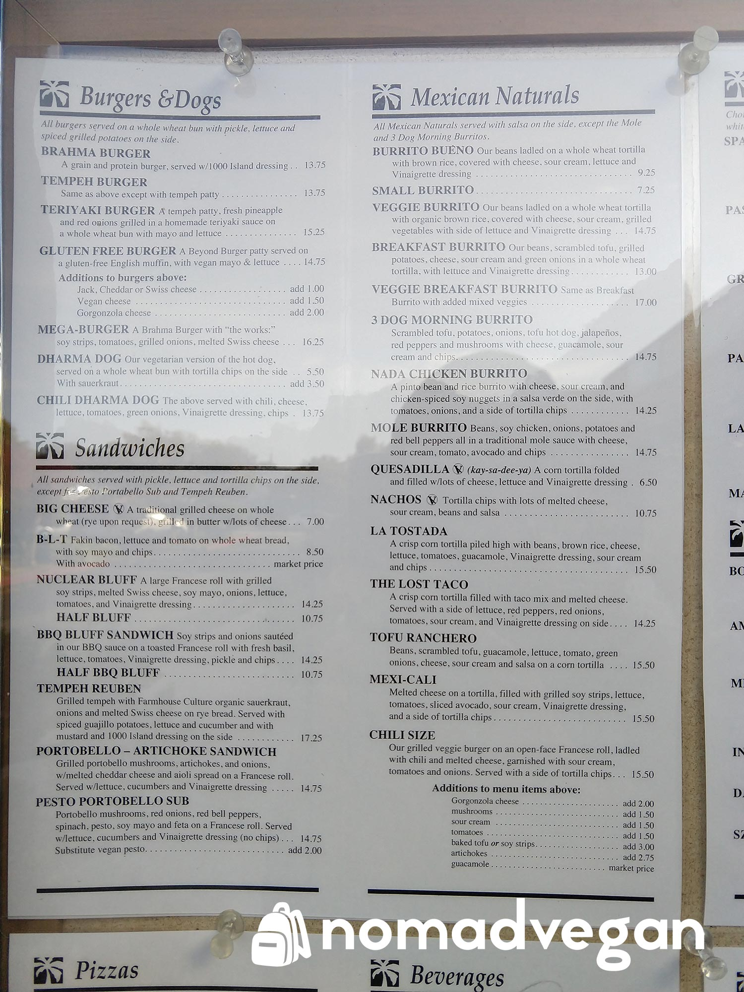Dharmas Capitola vegan sandwiches menu